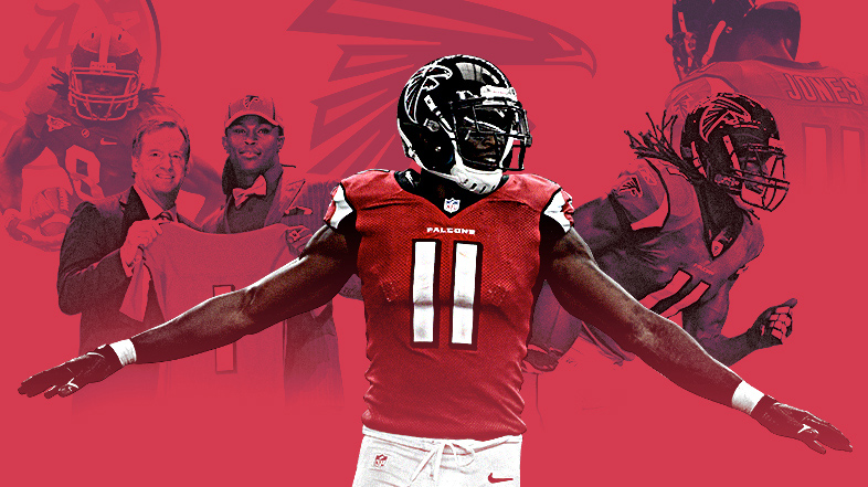 Julio Jones collage of images from draft day and from 2016 season